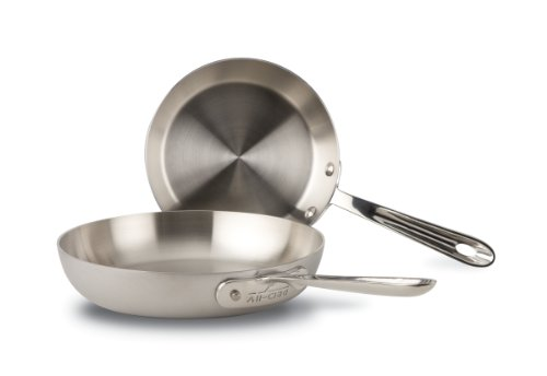 All-Clad BD5510609 D5 Brushed Stainless Steel 5-Ply Bonded Dishwasher Safe 7.5-Inch and 9-Inch French Skillet Cookware Set, 2-Piece, Silver