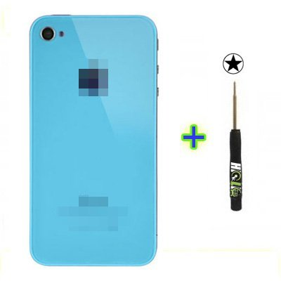 Hiclic - Iphone 4S Light Blue Rear Back Cover Glass Housing Replacement Part + Repair Tool Kit front-55320
