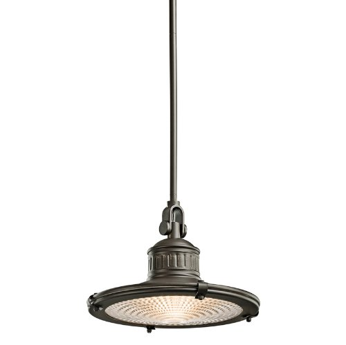 B003F1J7EQ Kichler Lighting 42437OZ 1-Light 75-Watt Sayre Incandescent Pendant with Fresnel Lens, Old Bronze