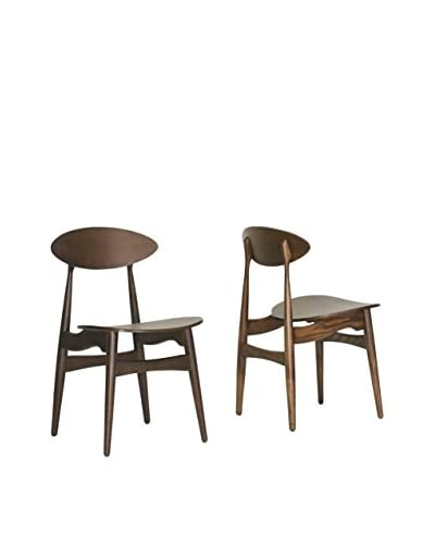 Baxton Studio Set of 2 Ophion Wood Dining Chairs, Brown