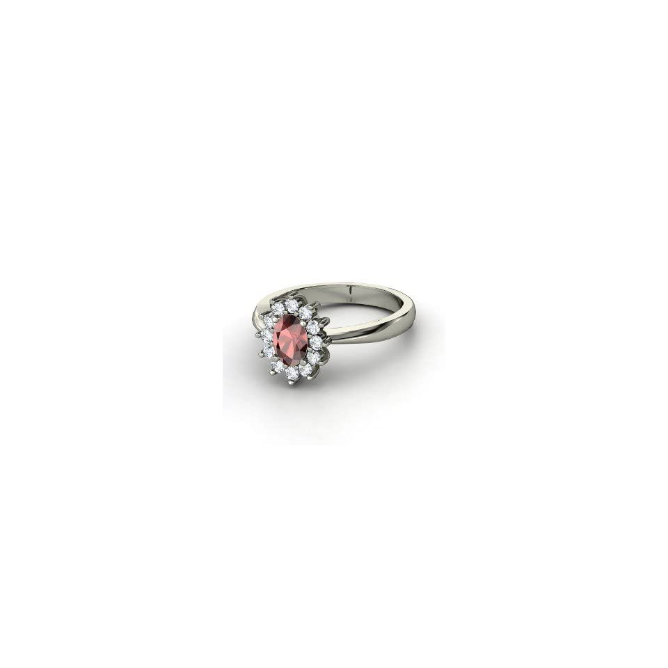Aunt Stars Ring, Oval Red Garnet Sterling Silver Ring
