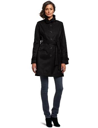 Via Spiga Women's Belted Fall Rain Coat - Black (Small)