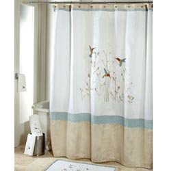 Beau Colibri Fabric Shower Curtain   Hummingbirds