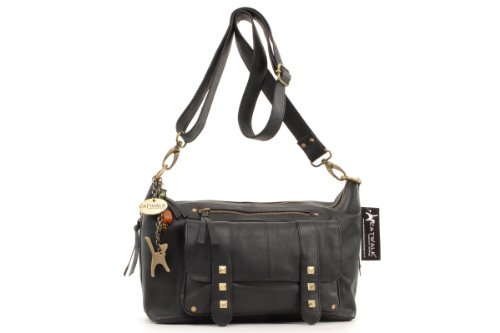Catwalk Collection Ashley Cross-Body Bag - Black Leather