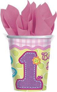 1st Birthday Girl 'Hugs and Stitches' 9oz Paper Cups (8ct)