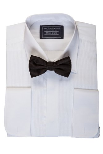 Mens White Standard Collar Dinner Shirt and Black Bow Tie Set 14.5 15 15.5 16 16.5 17 17.5 18 19 20 21