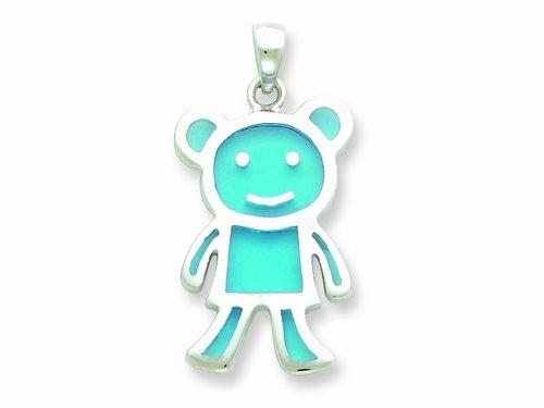 Sterling Silver Resin Blue Monkey Pendant - Chain Included LIFETIME WARRANTY