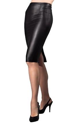 Amazon.com: Suddenly Fem Crossdressing Black Leather Look Pencil Skirt