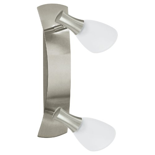 Eglo 87358 - Plafoniera/applique in acciaio nichelato opaco e vetro acidato modello ONA 1 a due luci, HV 2 x G 9, 33 W, lampadine incluse, dimensioni: 28,5 x 8 cm