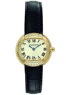 Saint Honore Women's Ladies' Agua Black Patent Leather Strap Watch With Cubic Zirconias Gold