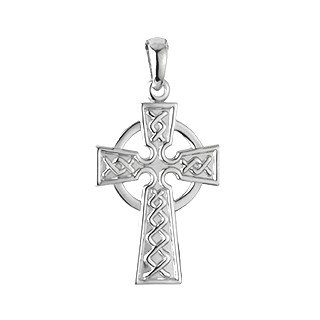 Sterling Silver Embossed Celtic Cross Pendant Necklace-Irish Made