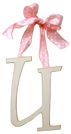 New Arrivals Wooden Letter U with Pink Polka Dot Ribbon, Cream