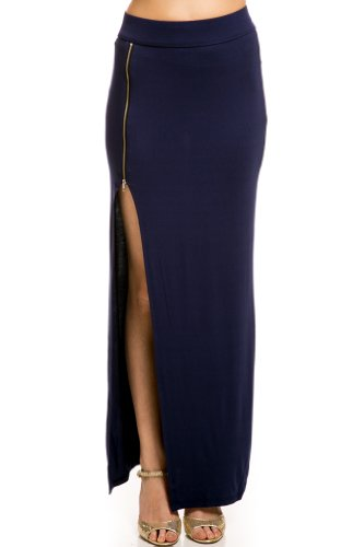 Zippered Maxi Skirt In Navy