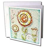 Dooni Designs Monogram Initial Designs - Cute Quirky Flowers Monogram Letter E - Greeting Cards-12 Greeting Cards with envelopes