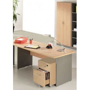 Simmob Office Pack 140 High Aluminium Winch Beech Filing Cabinet 2 Drawers Cabinet