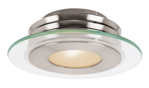 Access Lighting 50480Led-Bs/Cfr Helius Led Light Flush Mount With Clear Frosted Glass Shade, Brushed Steel Finish