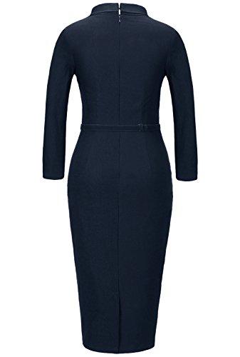 MUXXN Women's 1950s Vintage 3/4 Sleeve Elegant Collar Cocktail Evening Dress (L, Blue)