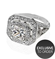 M&S Collection Platinum Plated Vintage Style Deco Ring