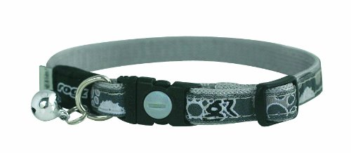 Adjustable Cat Collar with Safeloc Breakaway Clip - Black Paws Design, Small