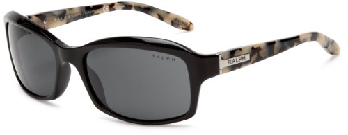 Image of Ralph by Ralph Lauren Women's 0RA5137 964/87 Rectangular Sunglasses,Black Marble Frame/Grey Lens,58 mm