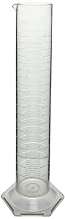 CapitolBrand Polymethylepentene Class A Plastic Graduated Cylinder with Molded Graduations