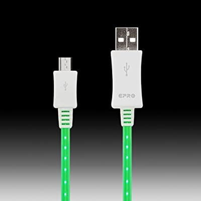 EAWELL LED Light Up Micro USB Cable for Android Smartphones and Tablets, 3-Pack - Non-Retail Packaging - Red/Green/Blue