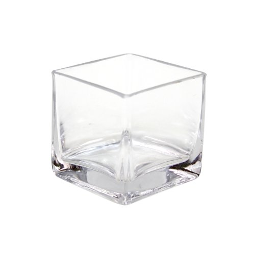 Koyal Wholesale 404342 12-Pack Cube Square Glass Vases, 3 By 3 By 3-Inch