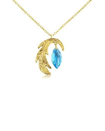 Belcho Curved Leaf with Blue Navette Swarovski Crystal Drop Pendant Necklace