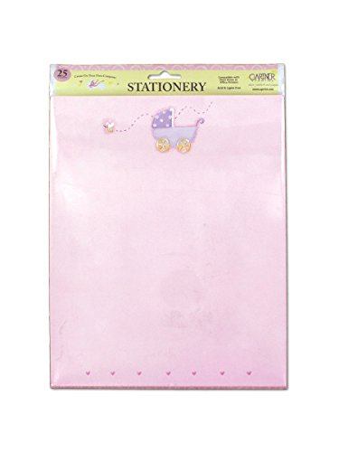 Pink Baby Stationery With Baby Carriage, Pack Of 25 Sheets, Case Of 72