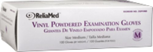 ReliaMed Non-Sterile Powdered Vinyl Examination Gloves Small (100/Box) (Box of 100 Each)