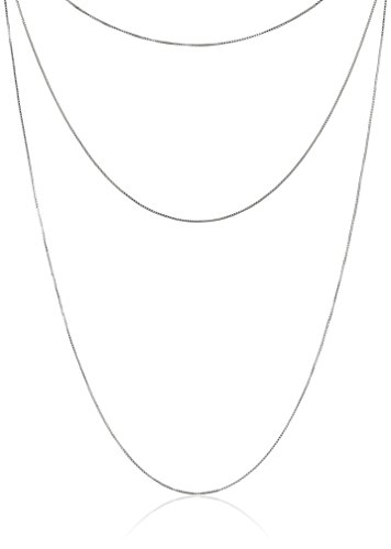 """Three-Piece Sterling Silver 16"""", 20"""", and 30"""" Box-Chain Necklaces"""