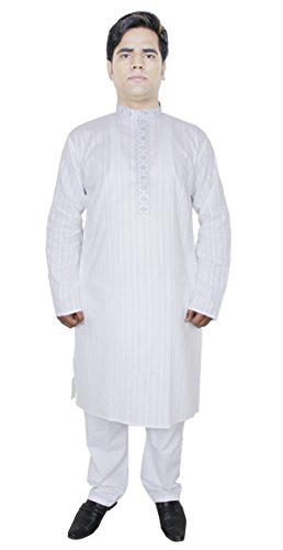 Vtements-Mode-Coton-Kurta-Pajama-Party-hommes-Porter-Indien-Vtements-Blanc