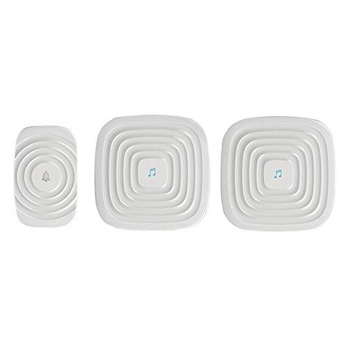 Ecandy(イケンディ)ドア チャイム ワイヤレス 配線不要(最大300M)ポータブルワイヤレスドアのベルチャイムホーム/オフィス/ホテル/工場など用 (送信1個+受信2個, 白い)
