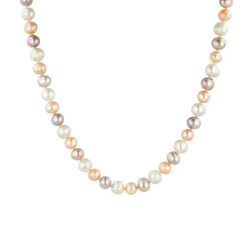 White, Peach, Mauve Freshwater Cultured Ringed Pearl Necklace (8-9mm ), 36