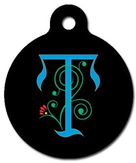Monogram Letter T Pet ID Tag for Dogs and Cats