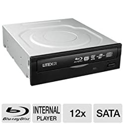 Lite-On IHES212-08 12X Internal Blu-Ray Combo Drive (Black), Retail Packaging