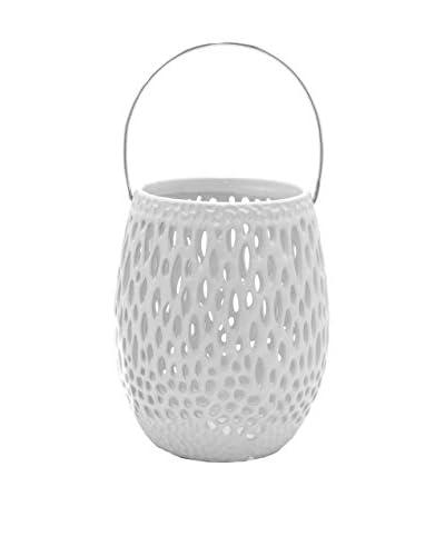 Three Hands Ceramic Lantern, White