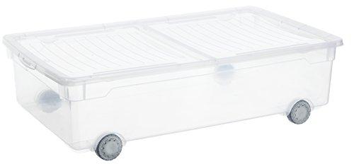 Rotho-Aufbewahrungsbox-Clear-Box-Slido-30-L-von-Rotho-mit-2-teiligem-Deckel-und-Rollen-QR-Code-AppMyBox-30-L-Volumen-LxBxH-705x40x195-cm-transparent-stapelbar-KunststoffPlastik-PP-Div-Gren
