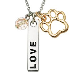 Rockin' Doggie Paw Necklace, Love Bar and Pink Crystal Bead