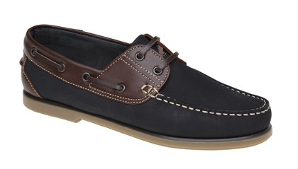 Mens DEK Boat Yachting shoe Navy/Brown Nubuck Leather size 10 UK
