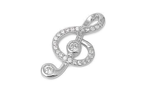 Sterling Silver Music Clef Note Clear Cz Pendant Cute Charm Pure 925 New 22Mm With 1.3Mm Curb Chain 18 Inch Valentines Day Gift