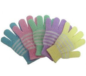 Swissco Bath & Shower Exfoliating Gloves White Stripes Pastel