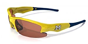 NCAA Michigan Wolverines Dynasty Sunglasses with Bag, Yellow and Blue, Adult by Maxx
