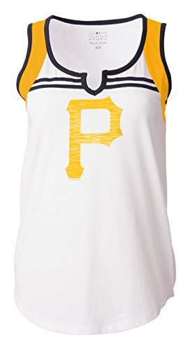 MLB Pittsburgh Pirates Women's Color Blocked V-Neck Tank Top, White, Small