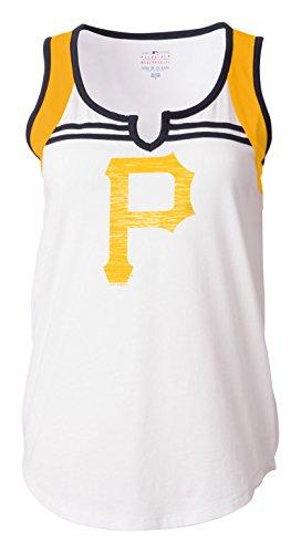 MLB Pittsburgh Pirates Women's Color Blocked V-Neck Tank Top, White, Large