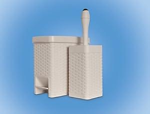 Lipski rattan bathroom set of square pedal bin for Beige bathroom bin