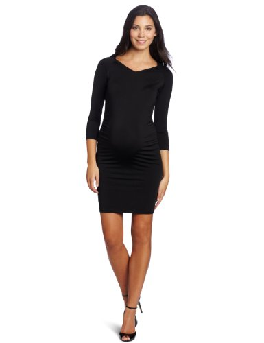 Three Seasons Maternity Women's Solid V-Neck Side Rouche Dress