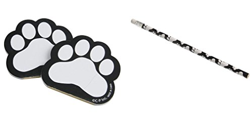 12 Pawprint Memo Pads and Pencils in Black/Children's Stationery/Arts & Crafts/Student Incentives
