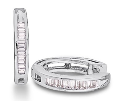 Baguette Diamond Hoop Earrings Sterling Silver (0.15 Carat)