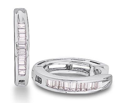 Baguette Diamond Hoop Earrings Sterling Silver (0.15 Carat)